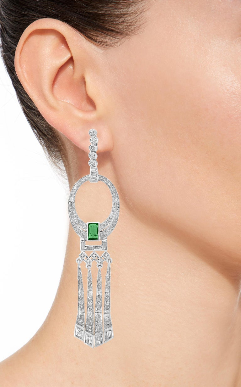 Women's 3.5 Carat Colombian Emerald Cut Emerald Diamond Hanging Earrings Platinum For Sale
