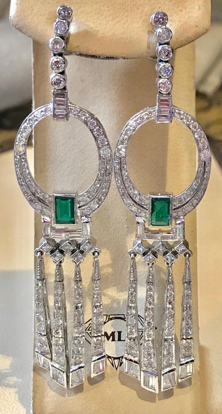3.5 Carat Colombian Emerald Cut Emerald Diamond Hanging Earrings Platinum For Sale 1