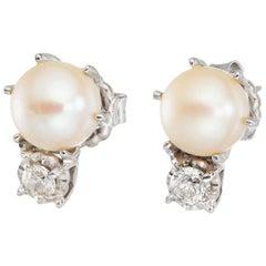 .35 Carat Diamond Cultured Pearl Midcentury Earrings