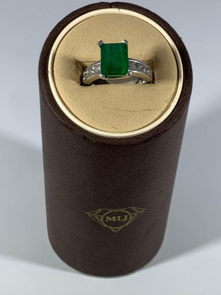 3.5 Carat Emerald Cut Emerald and 0.5 Carat Diamond Ring 14 Karat White Gold For Sale 8