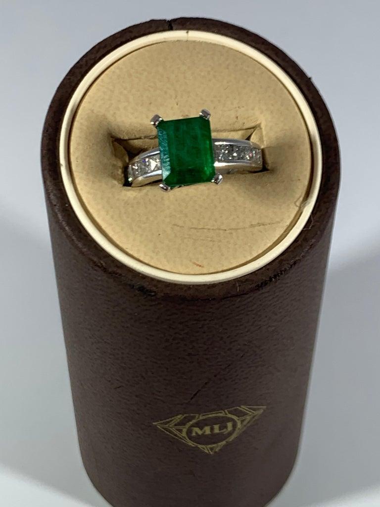 3.5 Carat Emerald Cut Emerald and 0.5 Carat Diamond Ring 14 Karat White Gold For Sale 9