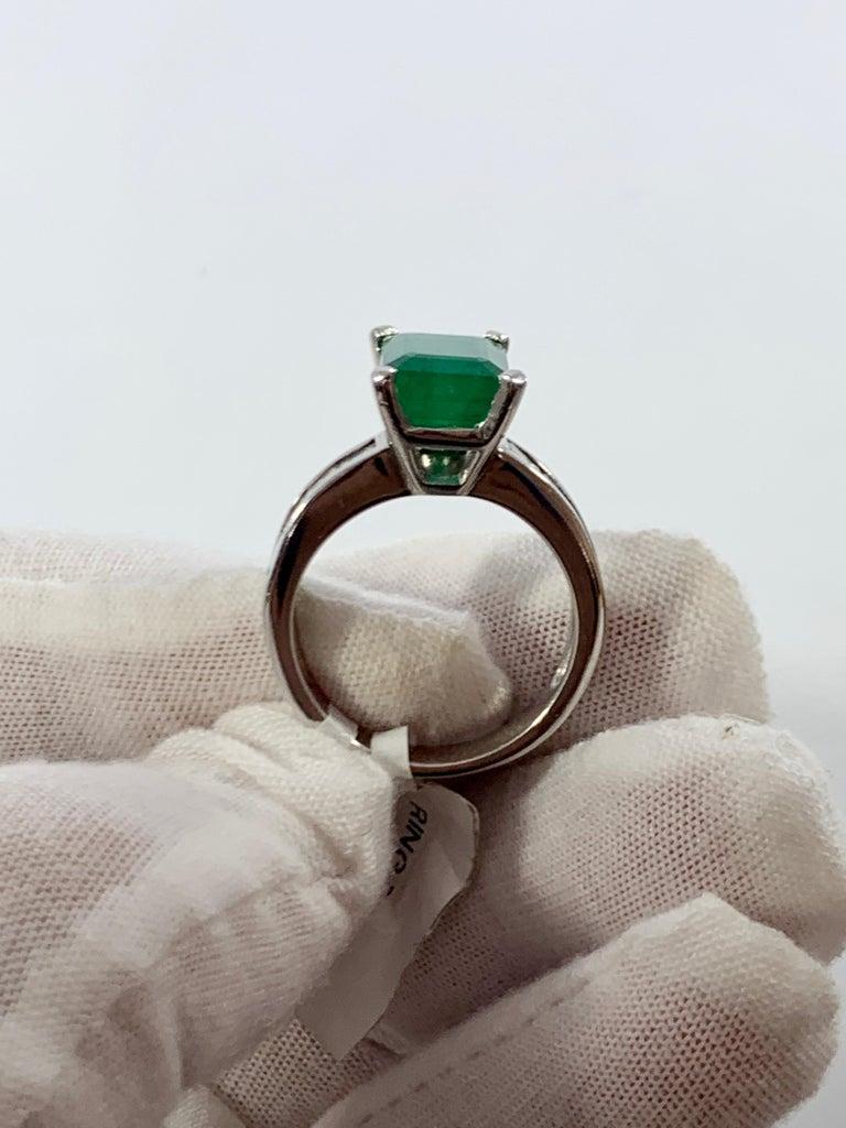 3.5 Carat Emerald Cut Emerald and 0.5 Carat Diamond Ring 14 Karat White Gold For Sale 10