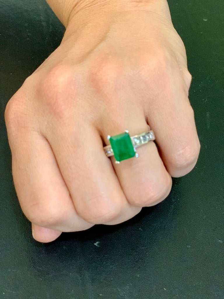 3.5 Carat Emerald Cut Emerald and 0.5 Carat Diamond Ring 14 Karat White Gold For Sale 11