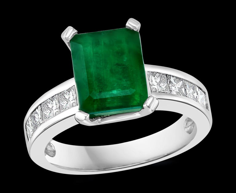 3.5 Carat Emerald Cut Emerald & 0.5 Carat Diamond Ring 14 K White Gold Emeralds are very precious , Very Difficult to find and getting more more difficult to find. A classic, Cocktail ring   Emerald measurements 9.7x7.5 which is approximately 3.5