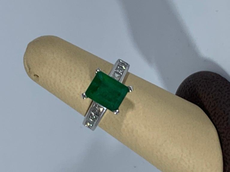 3.5 Carat Emerald Cut Emerald and 0.5 Carat Diamond Ring 14 Karat White Gold For Sale 1