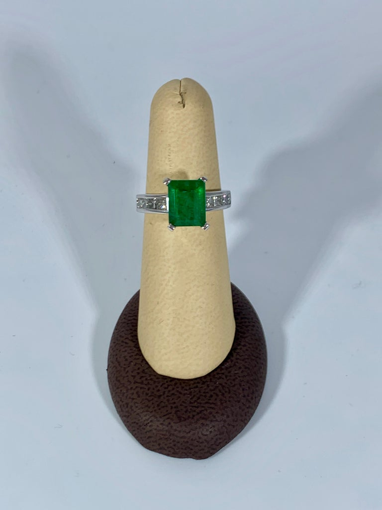 3.5 Carat Emerald Cut Emerald and 0.5 Carat Diamond Ring 14 Karat White Gold For Sale 2