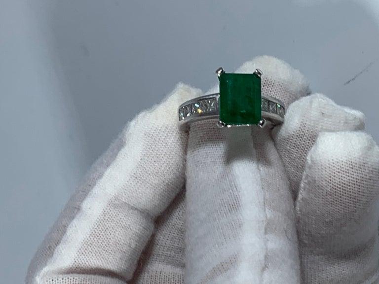 3.5 Carat Emerald Cut Emerald and 0.5 Carat Diamond Ring 14 Karat White Gold For Sale 3