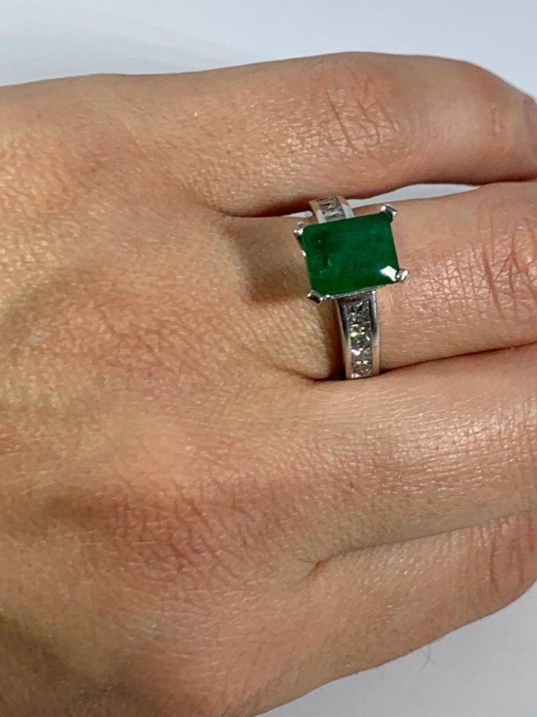 3.5 Carat Emerald Cut Emerald and 0.5 Carat Diamond Ring 14 Karat White Gold For Sale 4