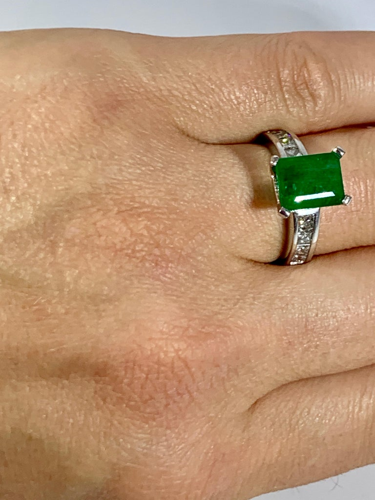 3.5 Carat Emerald Cut Emerald and 0.5 Carat Diamond Ring 14 Karat White Gold For Sale 5