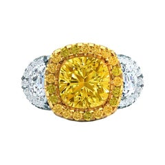 Solitaire, 3.5 Carat Fancy Yellow, Halo Ring,  GIA Certified VS Diamond Ring