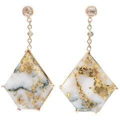 35 Carat Gold Bearing Quartz Diamonds 18 Karat Yellow Gold Earrings