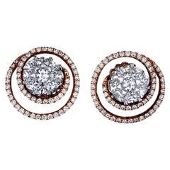 Swirl, Cluster 3.5 Carat Diamond Rose VS, F-G Color Earrings