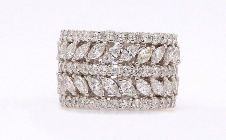 Material: 18K White Gold  40 Marquise Diamonds at 3.5 Carats  87 Round Diamonds at 3.19 Carats SI Quality /  H-I Color Ring Size: 7.5. Can be slightly adjusted or remade to your desired size. Alberto offers complimentary sizing on all rings.  Fine