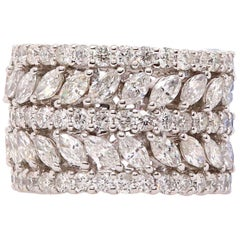 5 Row Marquise and Round Diamond Wedding Band
