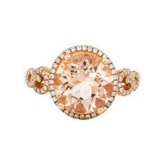 3.5 Carat Morganite and Diamond Ring in 18 Karat Rose Gold