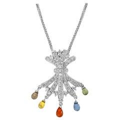 1.5 Carat Multi Sapphire  Briolettes Pendant /Necklace 18 Karat Gold Estate