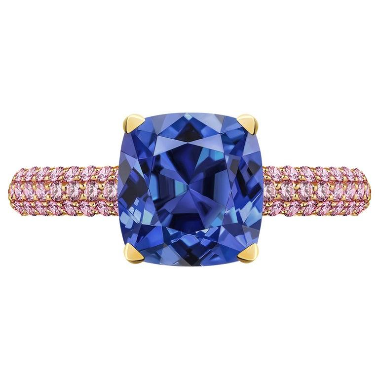 3.5 Carat Natural Cornflower Blue Sapphire Pink Sapphires 18 Karat Gold Ring For Sale