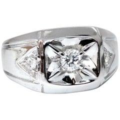 .35 Carat Natural Diamonds Men's Solitaire Accent Ring 14 Karat