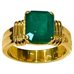 3.5 Carat Natural Emerald Cut Emerald Ring 18 Karat Yellow Gold