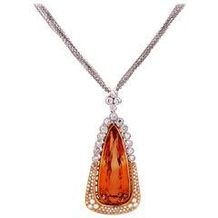 35 Carat Pear Shape Imperial Topaz Diamond 18K Rose White Gold Large Pendant