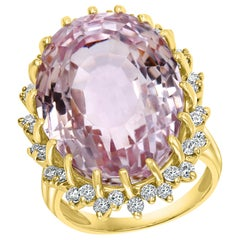 35 Carat Pink Amethyst and Diamond Cocktail Ring in 14 Karat Yellow Gold