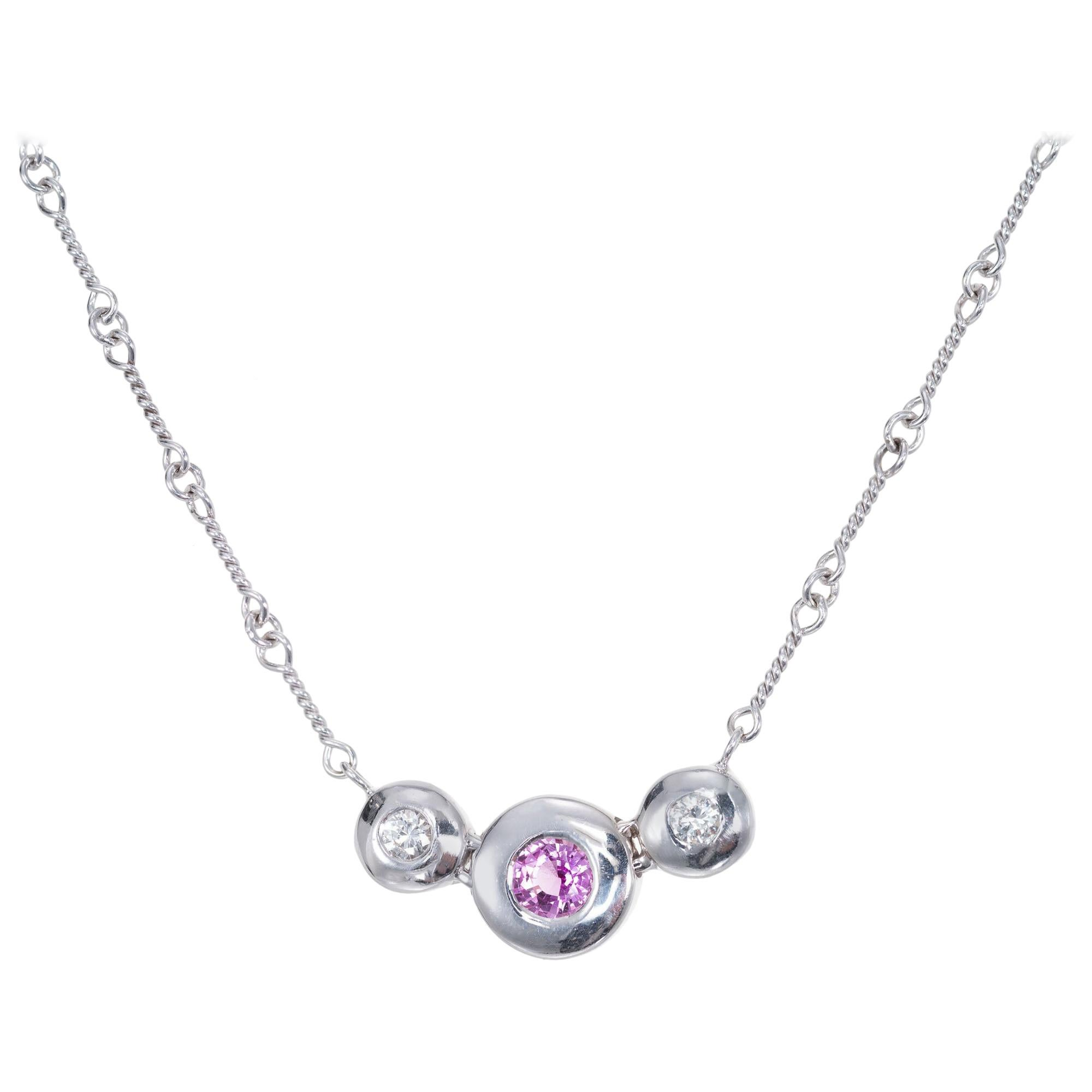 .35 Carat Pink Sapphire Diamond White Gold Link Chain Pendant Necklace