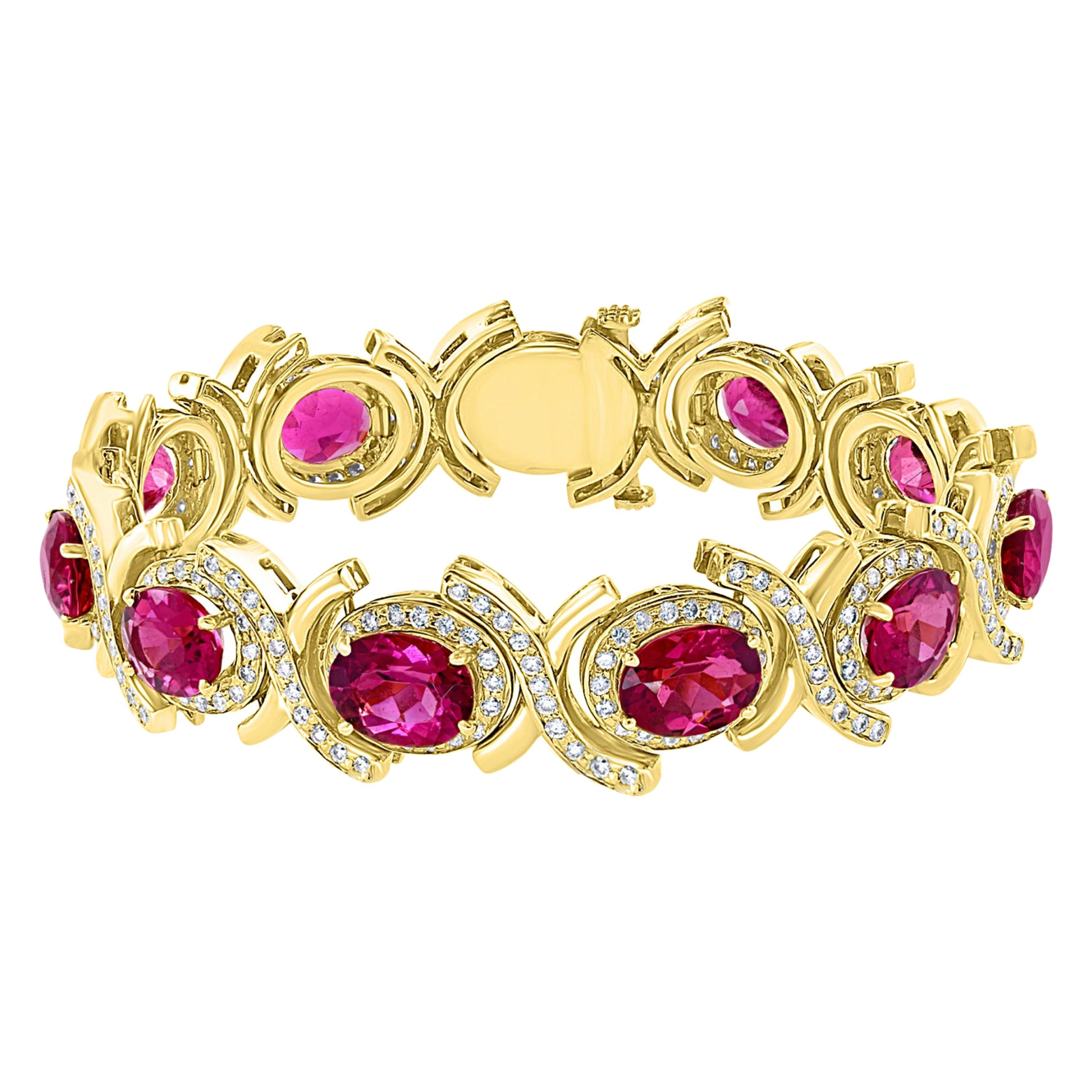 35 Carat Pink Tourmaline and 4.5 Carat Diamond Bracelet 14 Karat Yellow Gold