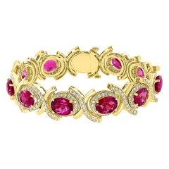 35 Carat Pink Tourmaline and 4.5 Carat Diamond Bracelet 14 Karat Yellow Gold