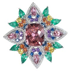 3.5 Carat Pink Tourmaline Cocktail Ring with Emeralds, Sapphires and Diamond