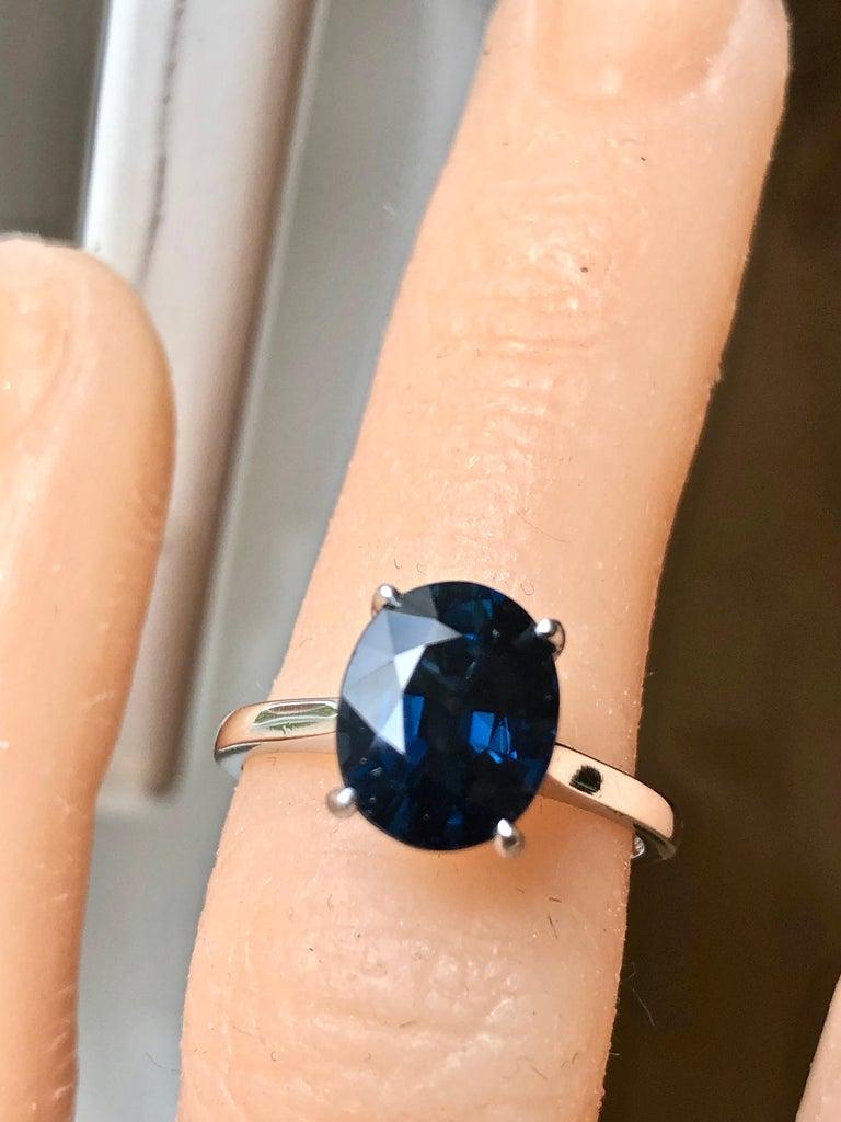 Contemporary 3.80 Carat Solitaire Engagement Sapphire Platinum Ring For Sale