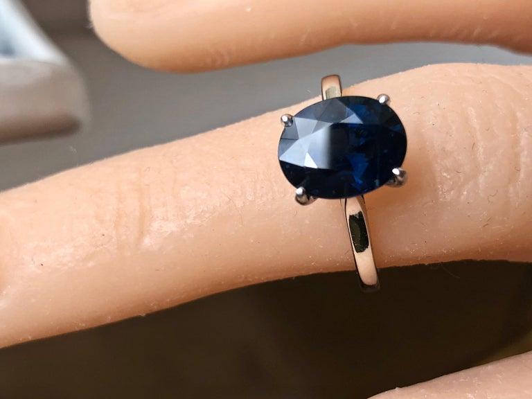 Oval Cut 3.80 Carat Solitaire Engagement Sapphire Platinum Ring For Sale