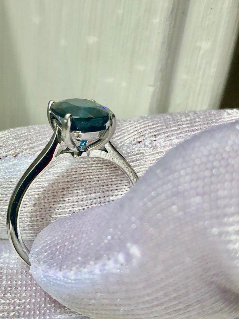 3.80 Carat Solitaire Engagement Sapphire Platinum Ring For Sale 2