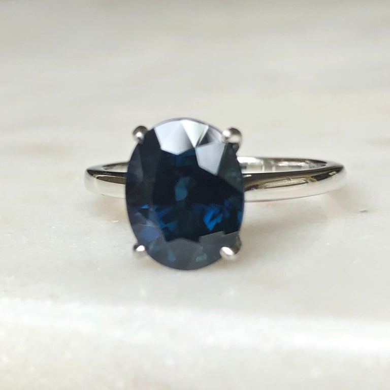 3.80 Carat Solitaire Engagement Sapphire Platinum Ring In Excellent Condition For Sale In Brunswick, ME