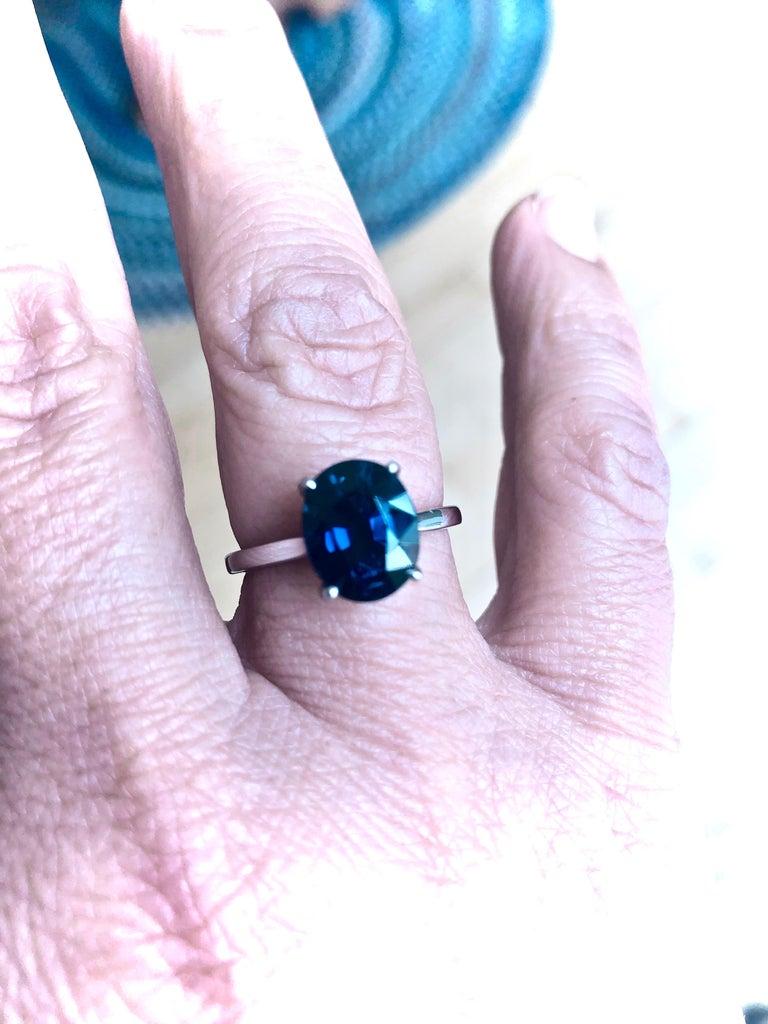 3.80 Carat Solitaire Engagement Sapphire Platinum Ring For Sale 1