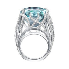 35 Carat Sri Lankan Blue Aquamarine Diamonds 18 Karat White Gold Cocktail Ring