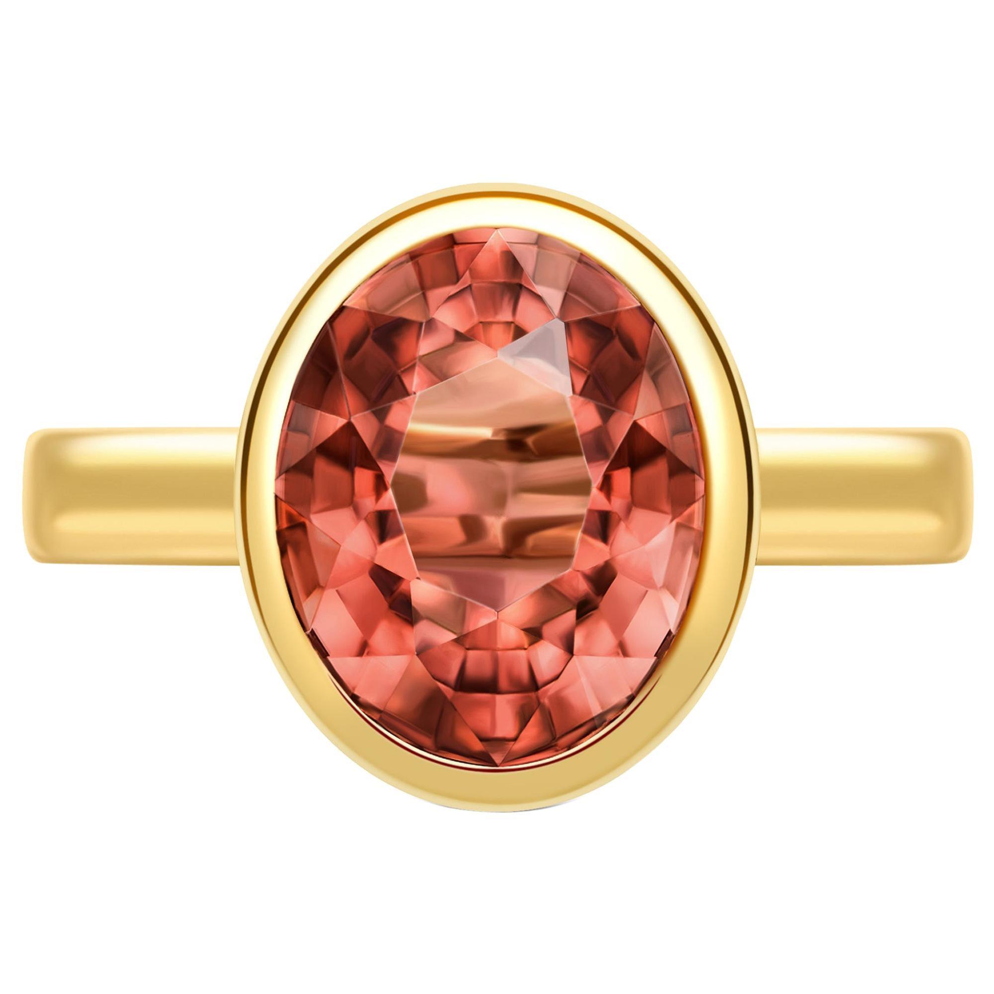 3.5 Carat Tourmaline 14 Karat Yellow Gold Ring