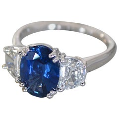 3.5 Carat tw Apprx Blue Oval Sapphire & Trapezoid 3 Stone Ring - Ben Dannie