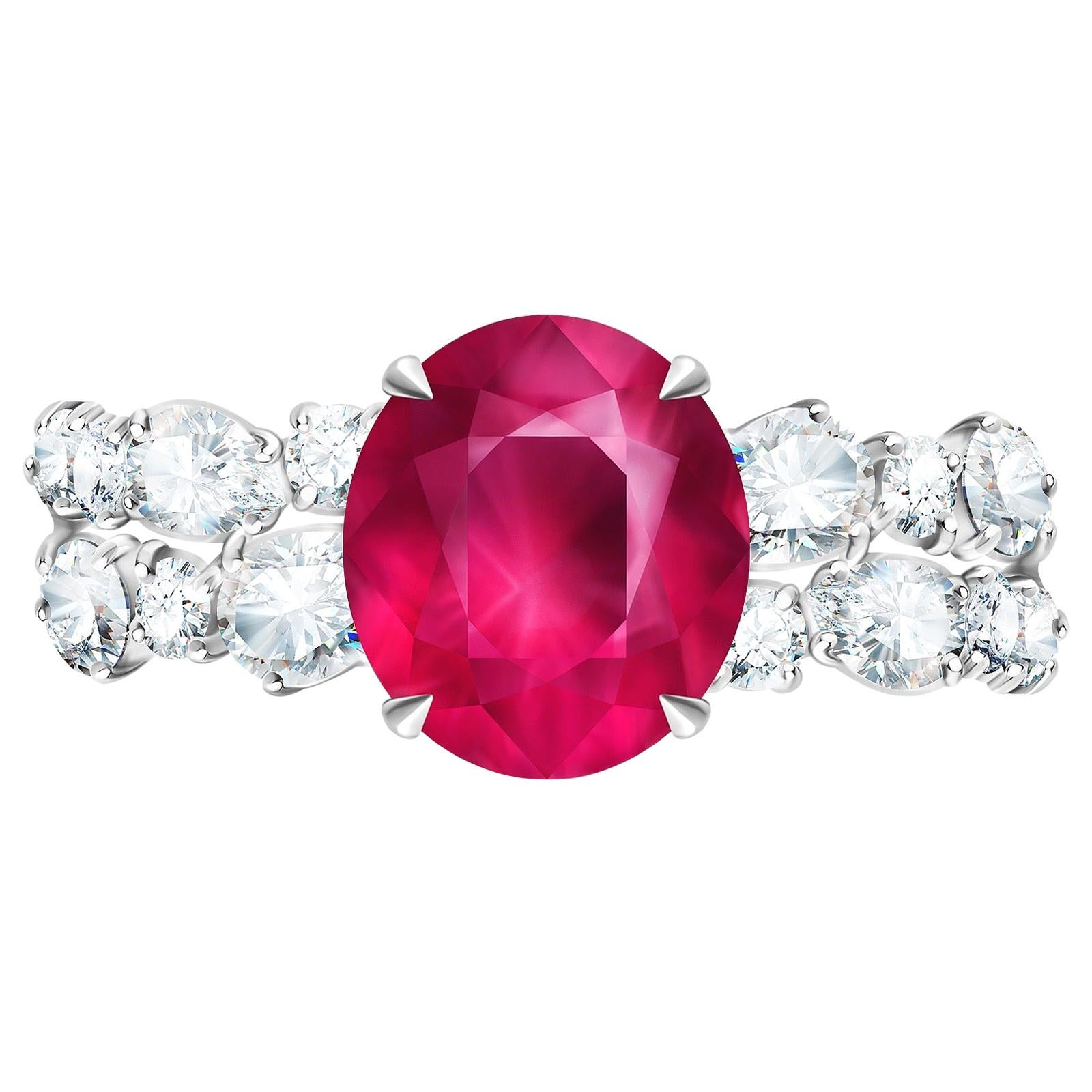 3.5 Carat Vivid Pink Spinel Mahenge Diamond 18 Karat White Gold Ring