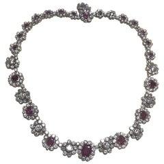 35 Carat VS1 Clarity Diamond and Rubies European Heirloom Necklace 50ths