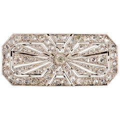 3.5 Carat Gold Platinum and Diamonds French Art Deco Brooch