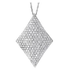 3.5 Carat VS/E Quality Diamond Pendant Necklace in 14 Karat White Gold