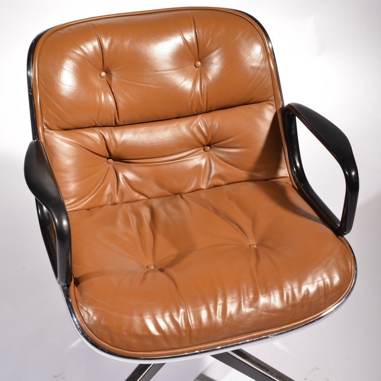 35 Charles Pollock Executive Desk Chairs for Knoll in Cognac Leather For Sale 4