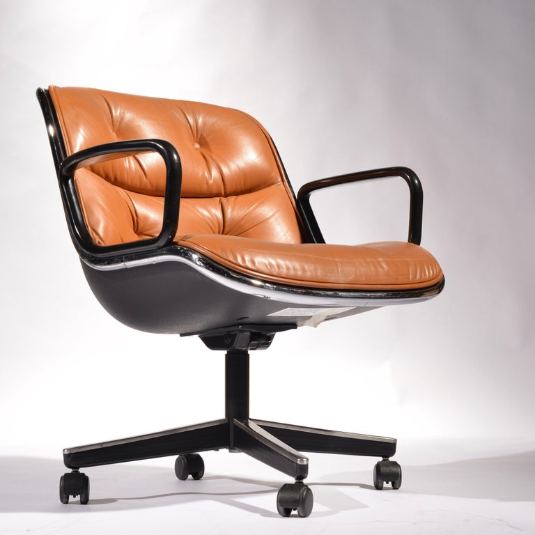 35 Charles Pollock Executive Desk Chairs for Knoll in Cognac Leather For Sale 5