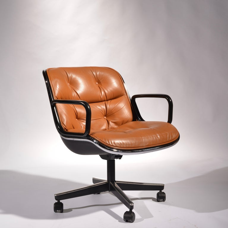 35 Charles Pollock Executive Desk Chairs for Knoll in Cognac Leather For Sale 6