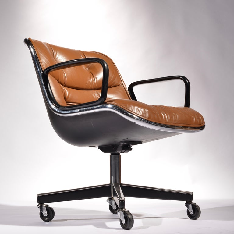 We have 35 vintage Charles Pollock executive desk chair for Knoll in the rare and amazing cognac leather. The ultimate ergonomic, office desk chair designed by this George Nelson apprentice, Charles Pollock. This set is in excellent condition!