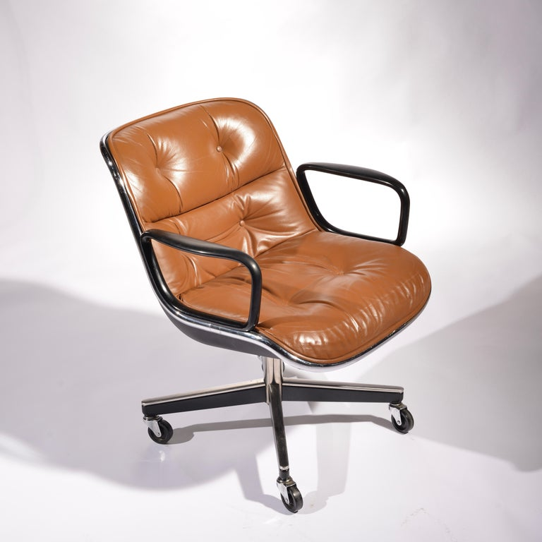 Mid-Century Modern 35 Charles Pollock Executive Desk Chairs for Knoll in Cognac Leather For Sale