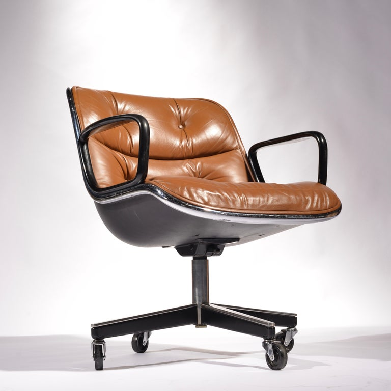 American 35 Charles Pollock Executive Desk Chairs for Knoll in Cognac Leather For Sale