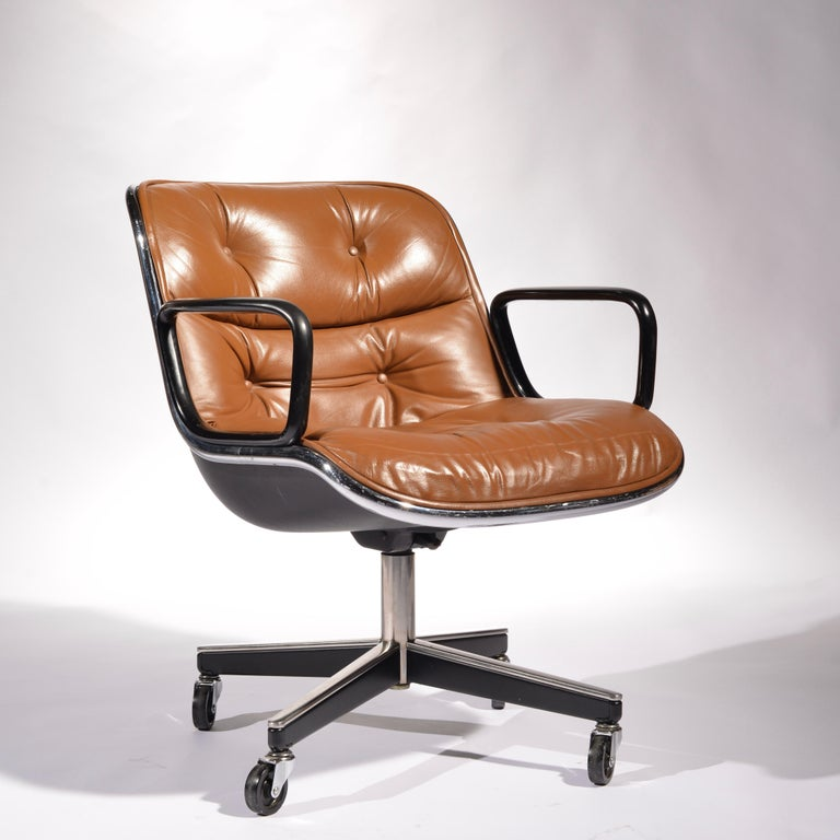Mid-20th Century 35 Charles Pollock Executive Desk Chairs for Knoll in Cognac Leather For Sale