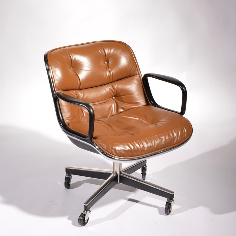 35 Charles Pollock Executive Desk Chairs for Knoll in Cognac Leather For Sale 1