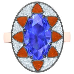 3.5 Carat Sapphire and Fire Opal and Diamond Cocktail Ring
